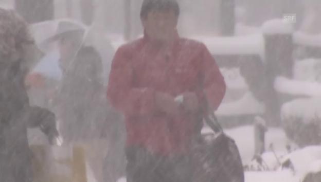Video «Heftige Schneefälle im Westen Japans (unkomm.)» abspielen