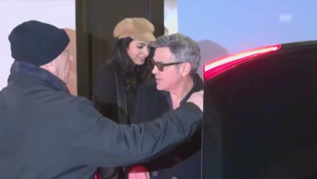 Video «George und Amal Clooney bei ihrer Ankunft in Berlin» abspielen