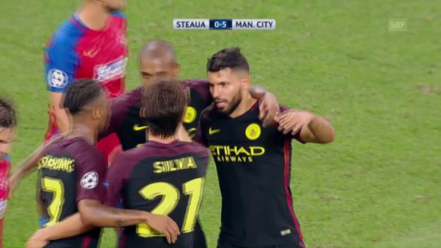 Video «Hattrick-Schütze Agüero verschiesst zwei Penaltys» abspielen