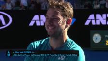 Link öffnet eine Lightbox. Video Wawrinka: «Hoffe, dass ich im Halbfinal auch Fans haben werde» (engl.) abspielen