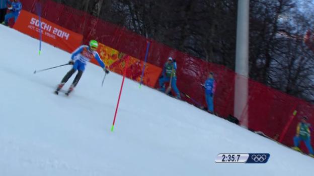 Video «Ski, Kombinations-Slalom, Fahrt von Christof Innerhofer (sotschi direkt, 14.02.14)» abspielen