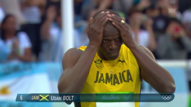 Video «Bolt und Gatlin locker im 100-m-Halbfinal» abspielen