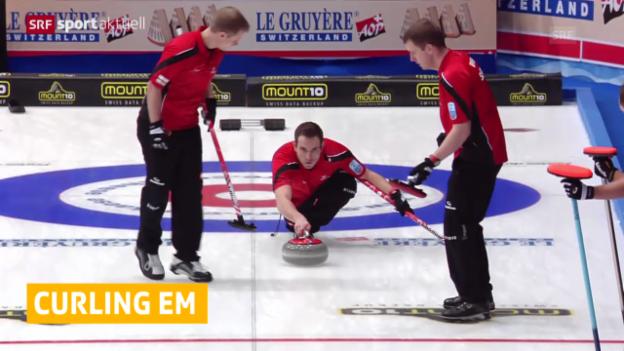 Video «Curling: EM in Champéry, Schweiz startet mit Sieg und Niederlage» abspielen
