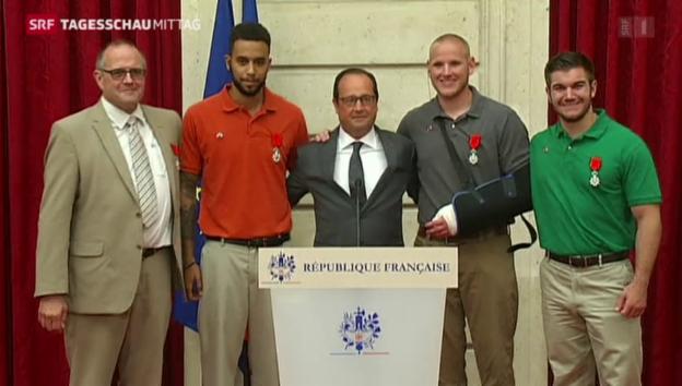 Video «Ehrung der Helden des Thalys-Zugs» abspielen