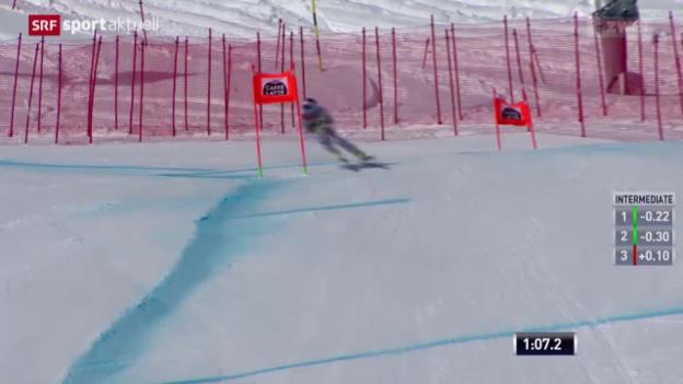 Video «Ski: Abfahrt Frauen in Crans-Montana, 1. Training» abspielen