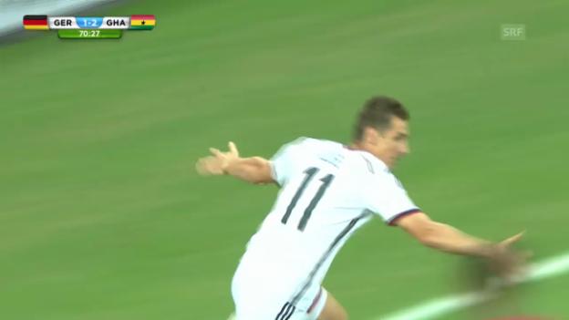 Video «FIFA WM 2014: Deutschland - Ghana: Kloses 15. WM-Tor» abspielen