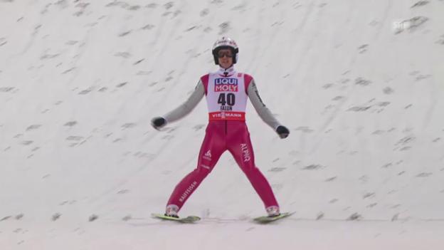 Video «Skispringen: Nordisch-WM in Falun, 1. Sprung von Simon Ammann» abspielen