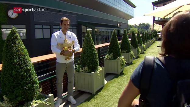 Video «Roger Federer am Tag nach seinem Wimbledon-Sieg» abspielen