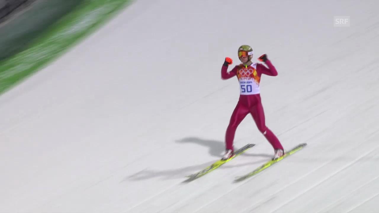 Skispringen: 2. Sprung von Stoch (sotschi direkt, 9.2.14)