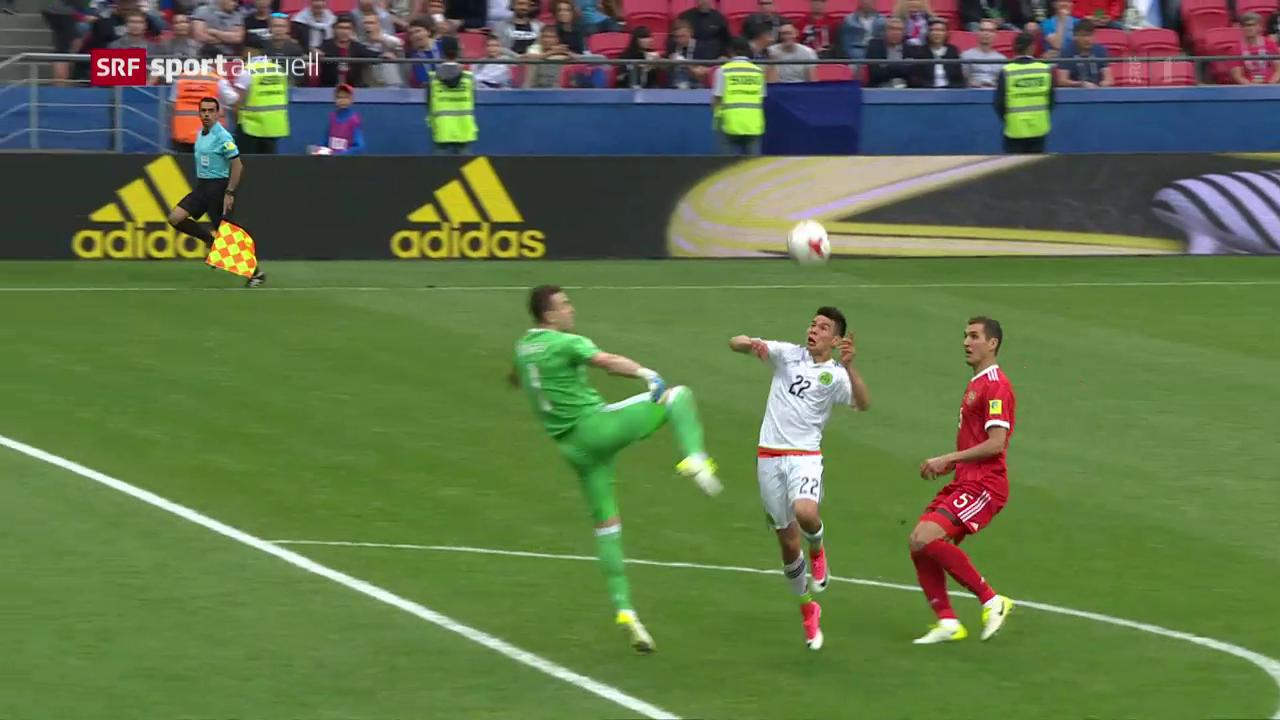 Russlands Goalie mit Blackout, Mexiko profitiert