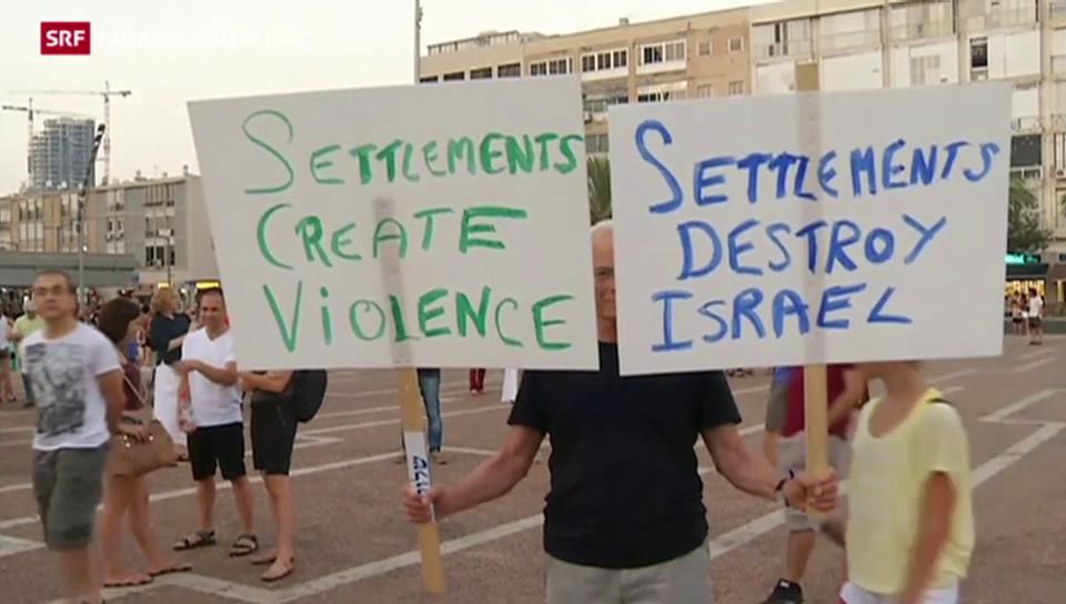 Demonstration gegen die Siedlungspolitik