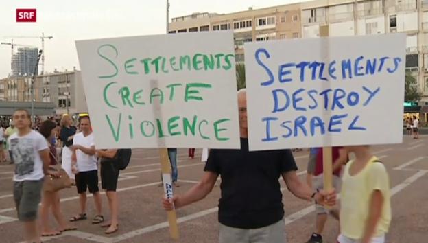 Video «Demonstration gegen die Siedlungspolitik» abspielen
