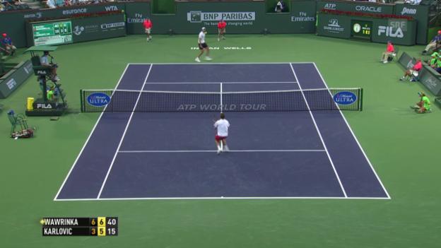 Video «Tennis: Stanislas Wawrinka - Ivo Karlovic, entscheidende Punkte (unkommentiert, 09.03.2014)» abspielen