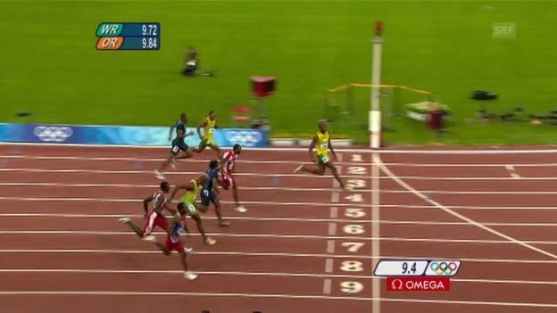 Video «Bolts Olympia-Gold über 100 m 2008 in Peking» abspielen