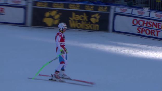 Video «Ski: Carlo Jankas 1. Trainingsfahrt am Lauberhorn» abspielen