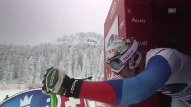 Video «Ski alpin: Abfahrt Garmisch, Fahrt Silvan Zurbriggen» abspielen