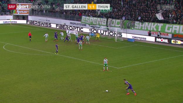 Video «Sandro Wieser am Ursprung des Thuner Siegtreffers in St. Gallen» abspielen