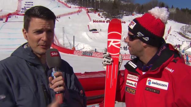 Video «Ski alpin: Weltcup-Finale in Méribel, Männer-Abfahrt, Didier Défago im Interview» abspielen