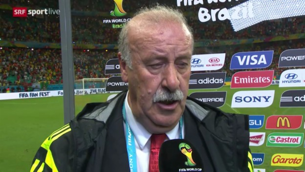 Video «Fussball: WM 2014, NED-ESP, Interview Del Bosque» abspielen