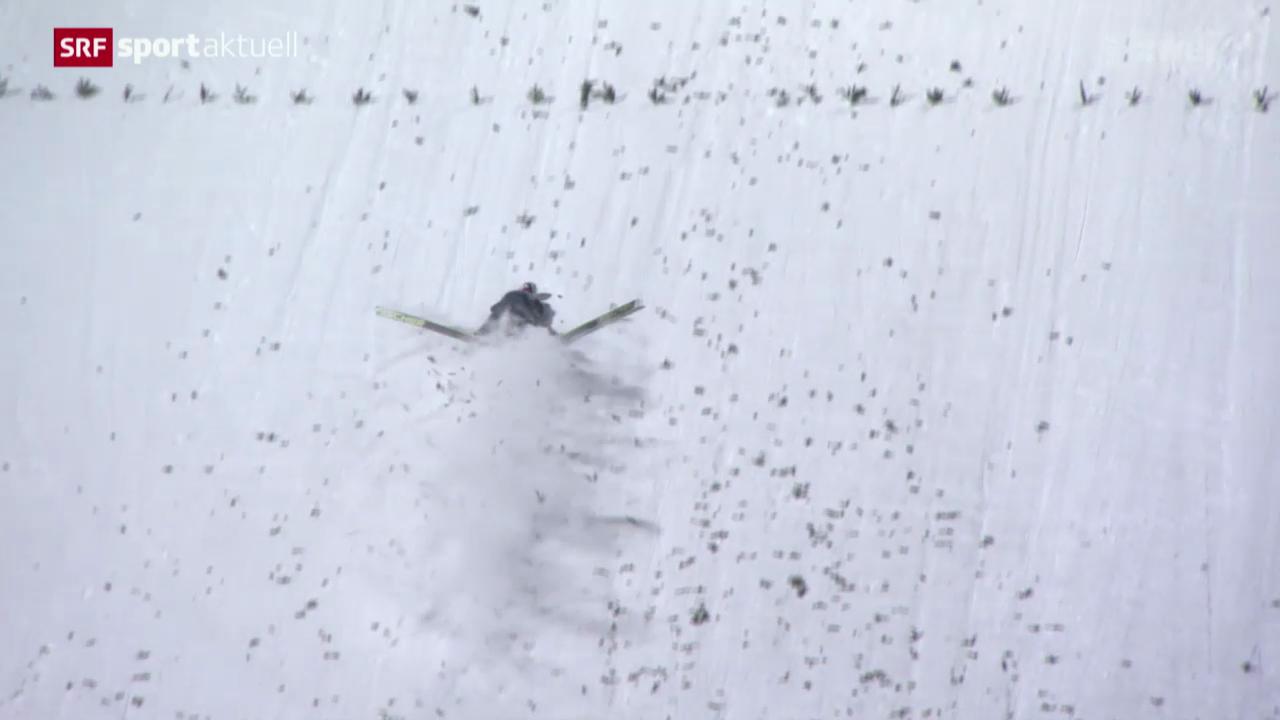 Skispringen: Vierschanzentournee, 4. Springen in Bischofshofen, Sturz von Simon Ammann