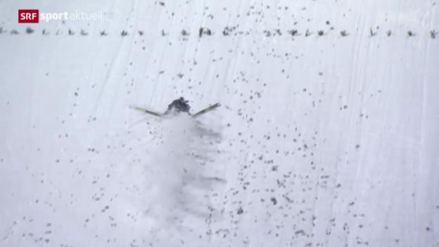 Video «Skispringen: Vierschanzentournee, 4. Springen in Bischofshofen, Sturz von Simon Ammann» abspielen