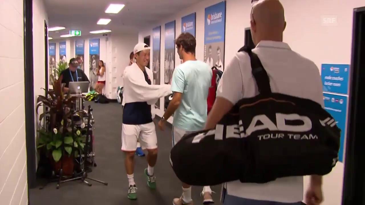 Tennis: ATP Brisbane, Federers Ankunft im Stadion