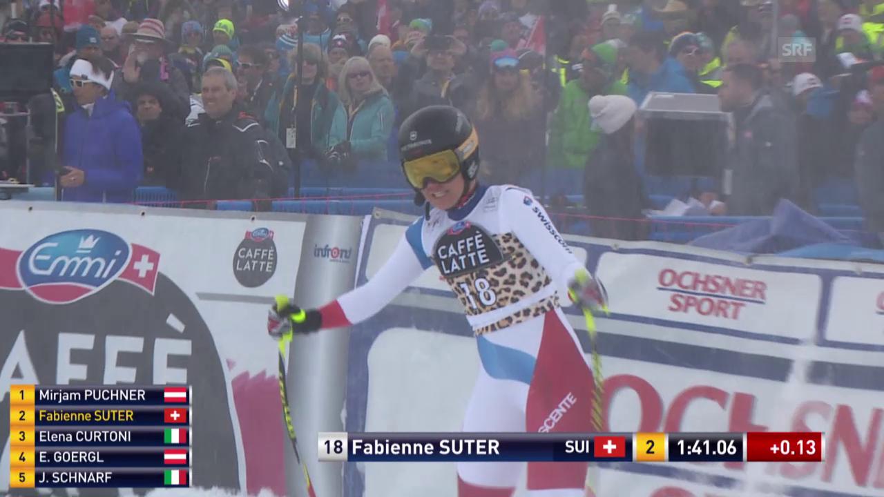 Fabienne Suter fährt beim Heimrennen auf's Podest