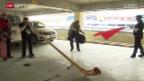 Video «Langlauf: Mit dem Alphorn nach Sotschi» abspielen