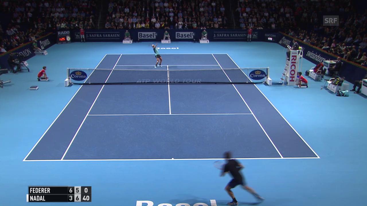 Tennis: Swiss Indoors 2015, Final Federer-Nadal, Nadal holt sich den 2. Satz