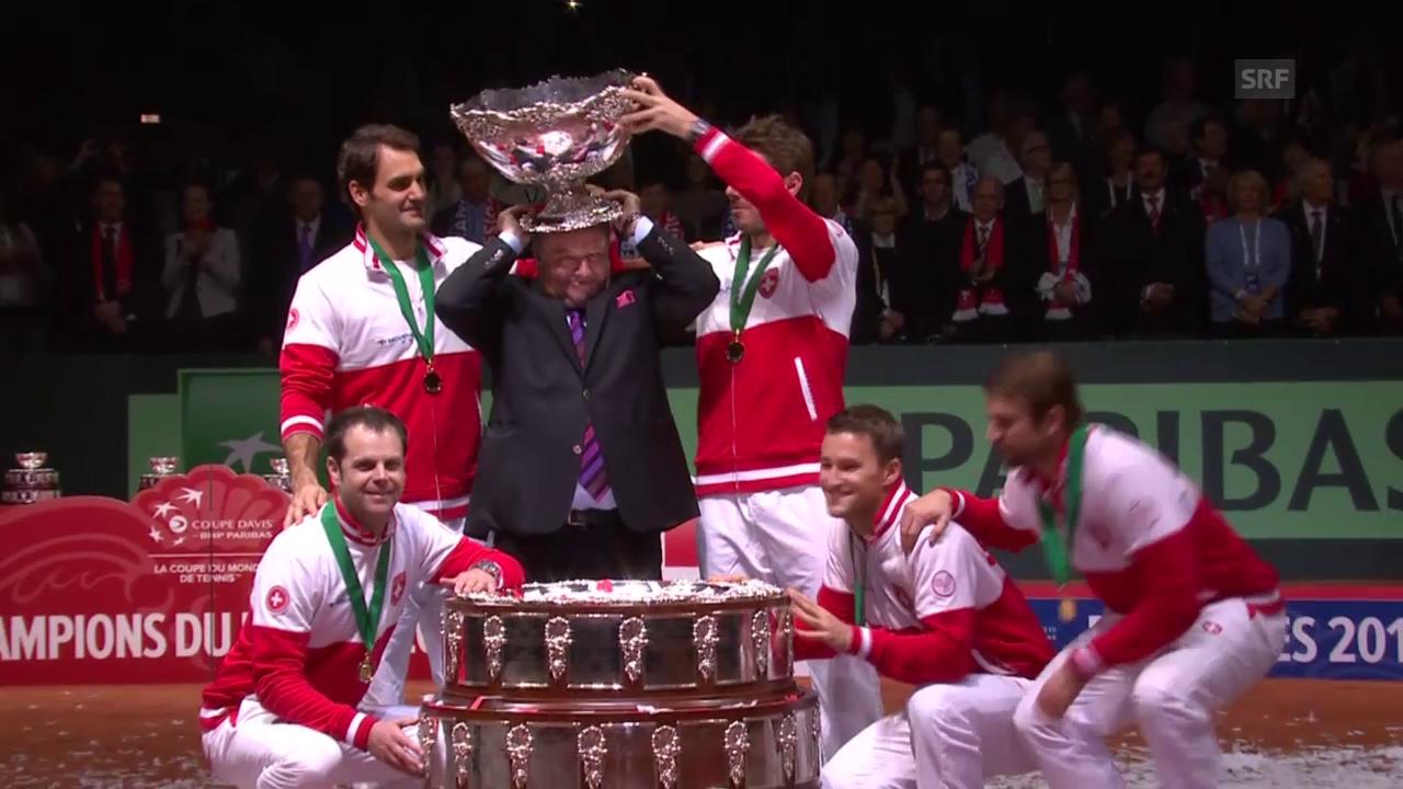 Tennis: Davis Cup 2014, Stammbach mit Pokal