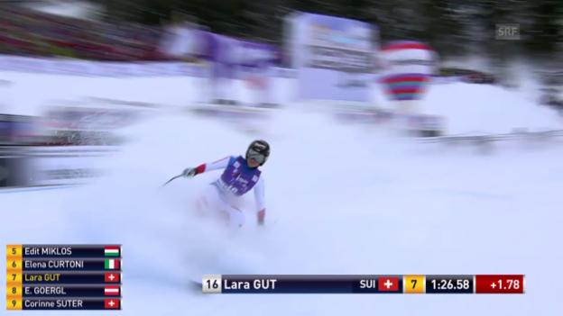 Video «Lara Gut verliert in der 2. Abfahrt von La Thuile zu viel Zeit» abspielen