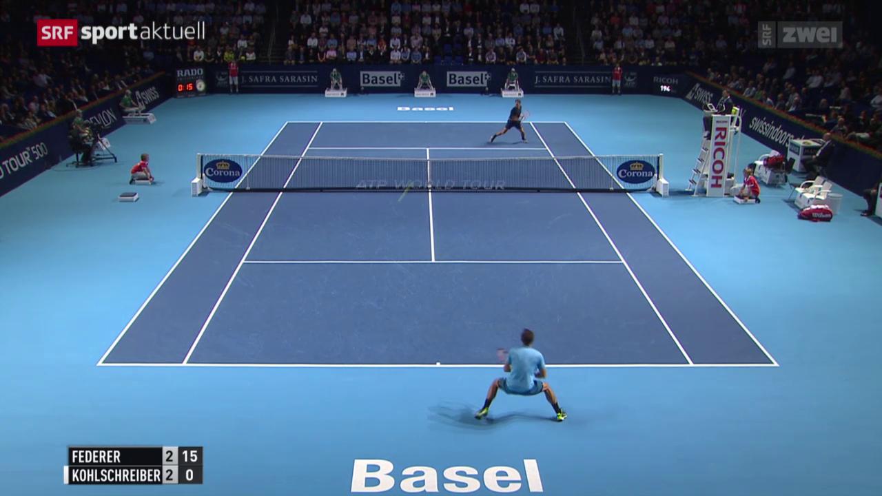 Tennis: Swiss Indoors Basel, Federer - Kohlschreiber