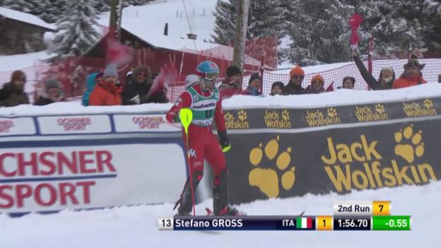 Video «Ski Alpin: Slalom Adelboden, die Siegesfahrt von Stefano Gross» abspielen
