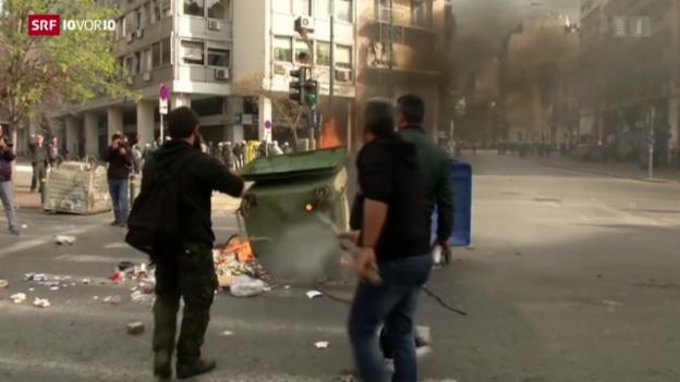 Video «Bauern-Proteste in Athen» abspielen