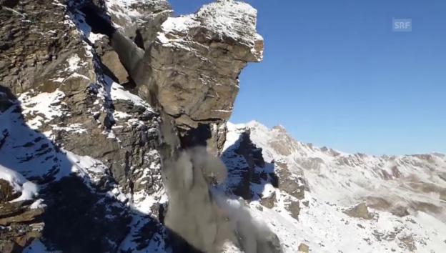 Video «Evolène: 6000 Tonnen Geröll donnern ins Tal» abspielen
