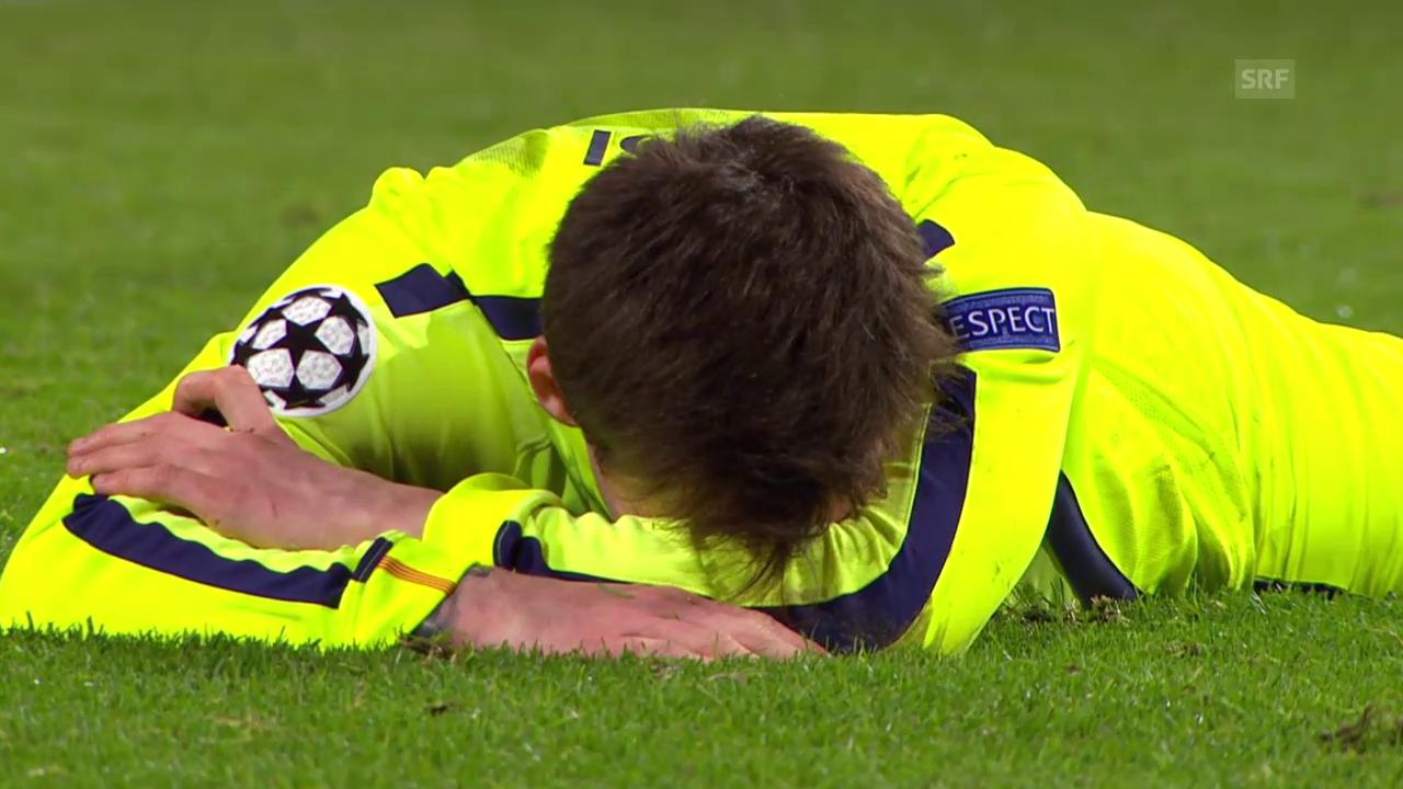 Fussball: Champions League, Achtelfinal, ManCity - Barcelona, Messi verschiesst Penalty