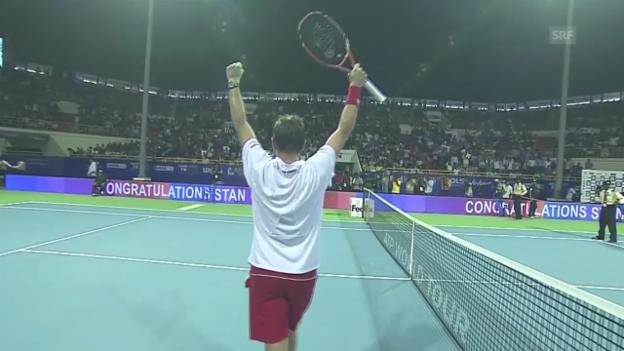 Video «Tennis: ATP-Turnier Chennai, Final, Highlights Wawrinka - Roger-Vasselin (englisch)» abspielen