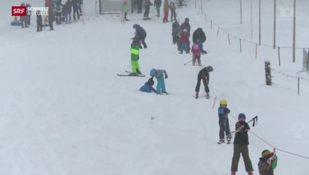 Video «Tiefstgelegener Skilift der Schweiz in Betrieb» abspielen
