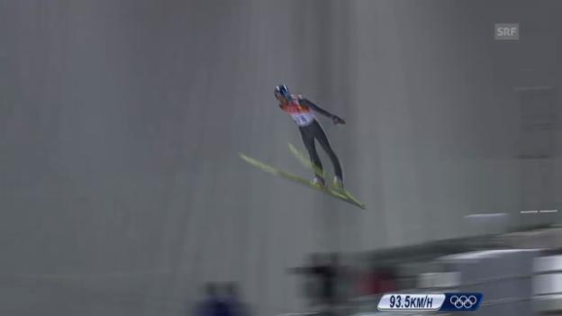 Video «Skispringen: Grossschanze Männer, 1. Sprung Gregor Deschwanden (sotschi direkt, 15.02.2014)» abspielen