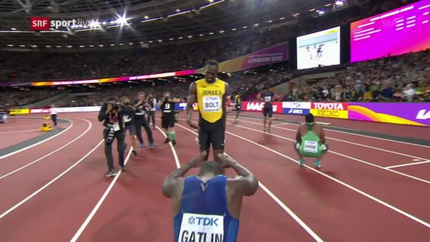 Video «Wie ein Sieger gefeiert: Bolts Abschiedsrunde» abspielen