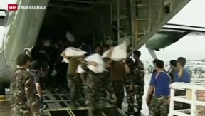 Video «Hilfe nach Monster-Taifun kommt langsam ins Rollen» abspielen