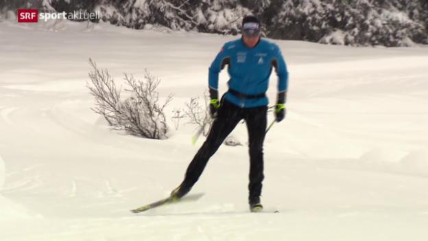 Video «Langlauf: Dario Cologna trainiert wieder auf Schnee» abspielen