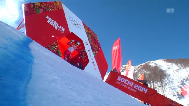 Video «Ski: Abfahrt der Frauen, die Fahrt von Marianne Kaufmann-Abderhalden (sotschi direkt, 12.02.2014)» abspielen
