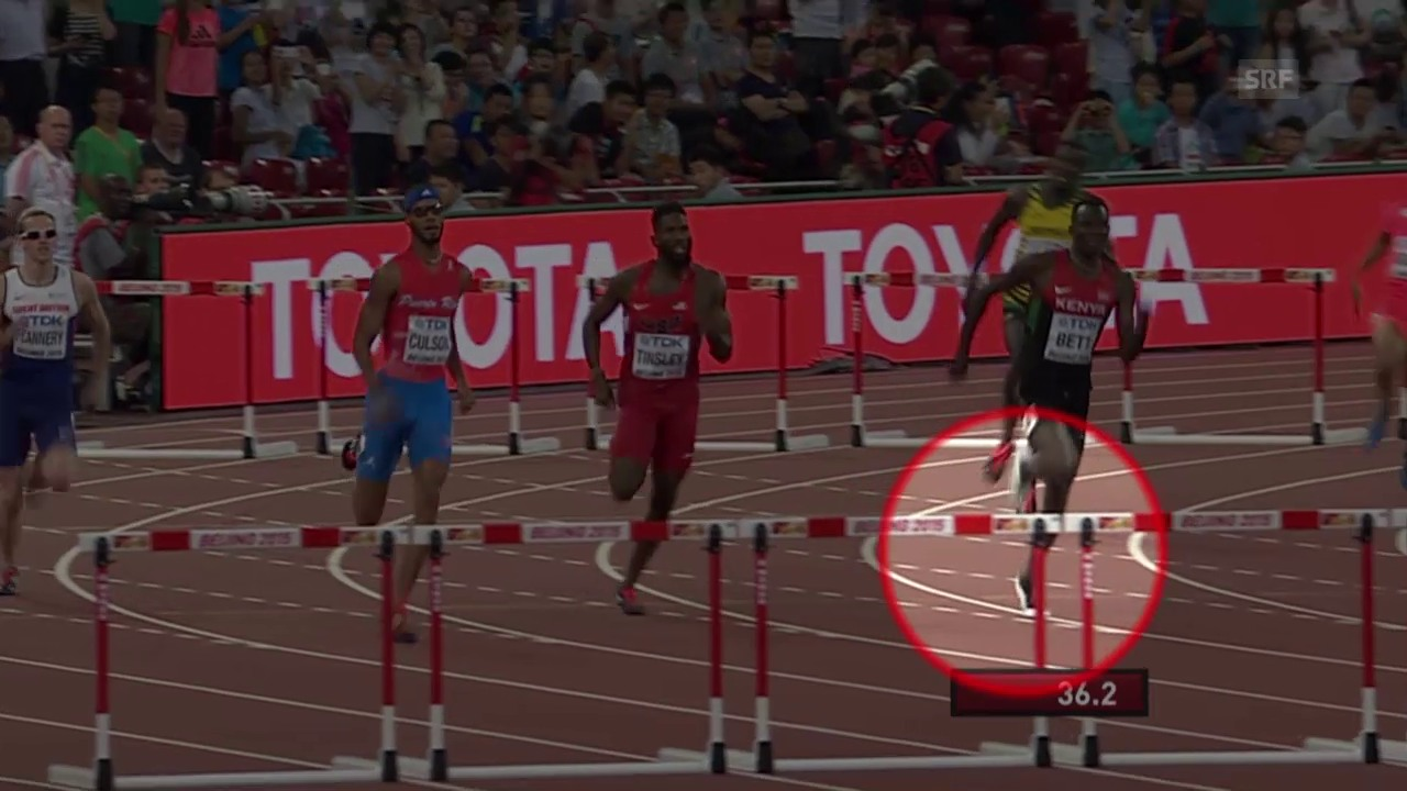 Leichtathletik: WM Peking, umstrittene Szene 400 m Hürden