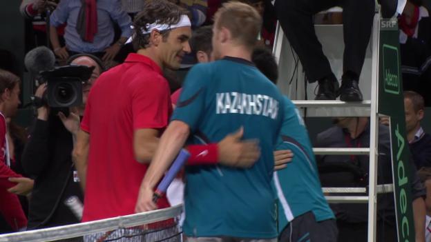 Video «Tennis: Davis Cup, Viertelfinal Schweiz - Kasachstan, Roger Federer - Andrej Golubew» abspielen