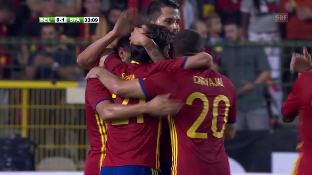 Zwei Silva-Tore lassen Spanien in Belgien jubeln