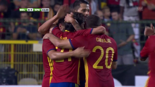 Video «Zwei Silva-Tore lassen Spanien in Belgien jubeln» abspielen