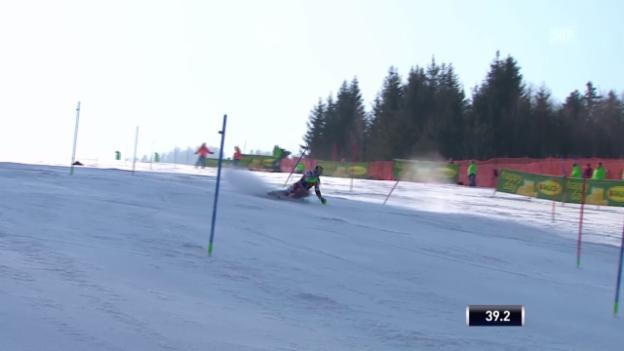 Video «Ski: Männer-Slalom in Kranjska Gora, Fehler von Hirscher im 1. Lauf» abspielen