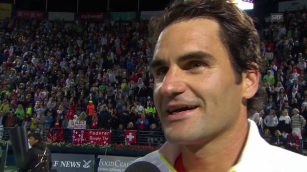 Video «Tennis: Dubai, Federer Platzinterview» abspielen