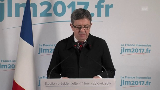 Video «Mélenchon stellt sich hinter keinen der Kandidaten (franz. Originalton)» abspielen